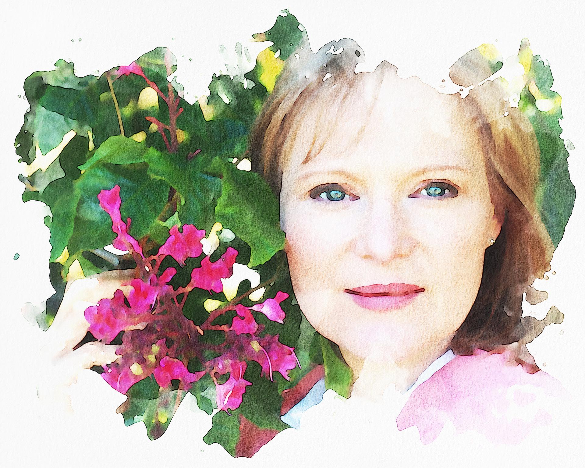 žena a květiny malba