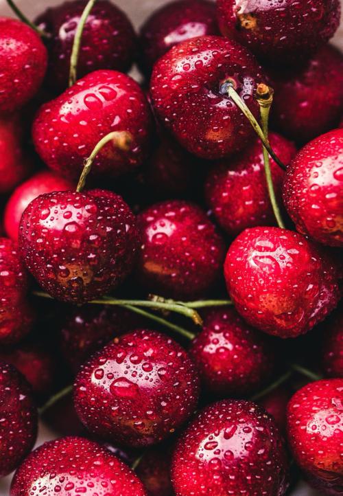 třešně, rudé, orosené