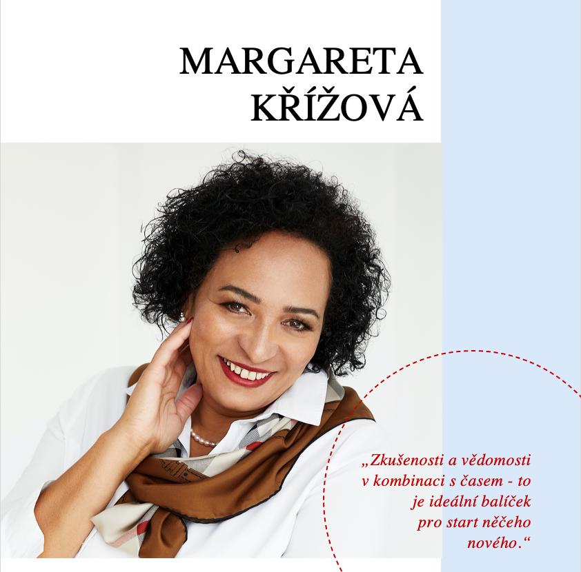 žena v bílé košili a hnědým šátkem kolem krku, margareta křížová