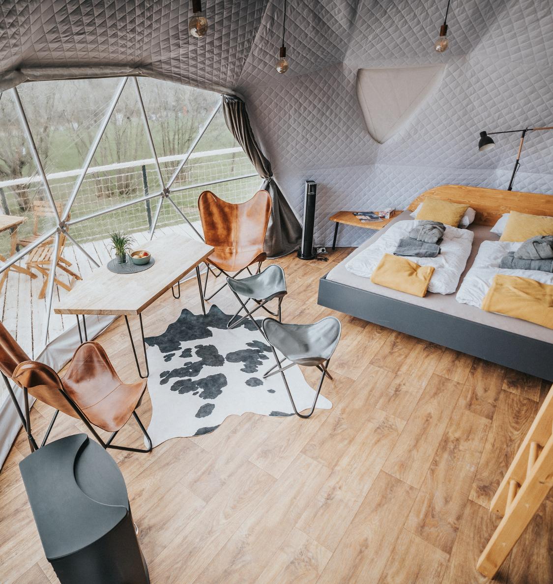 Glamping, interiér, cestování